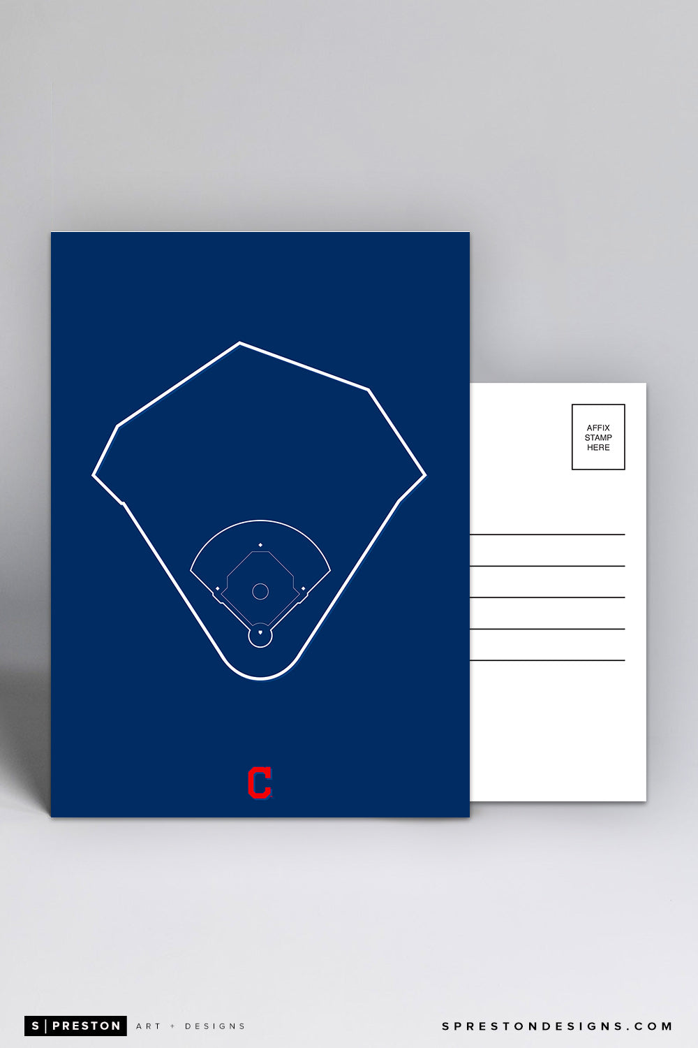 Progressive Field - Outline Ballparks Postcard Cleveland Indians - S. Preston