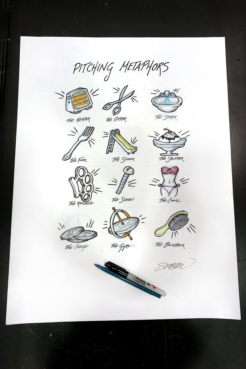 Pitching Metaphors Sketch Limited Edition - S. Preston Art + Designs - S. Preston Art + Designs