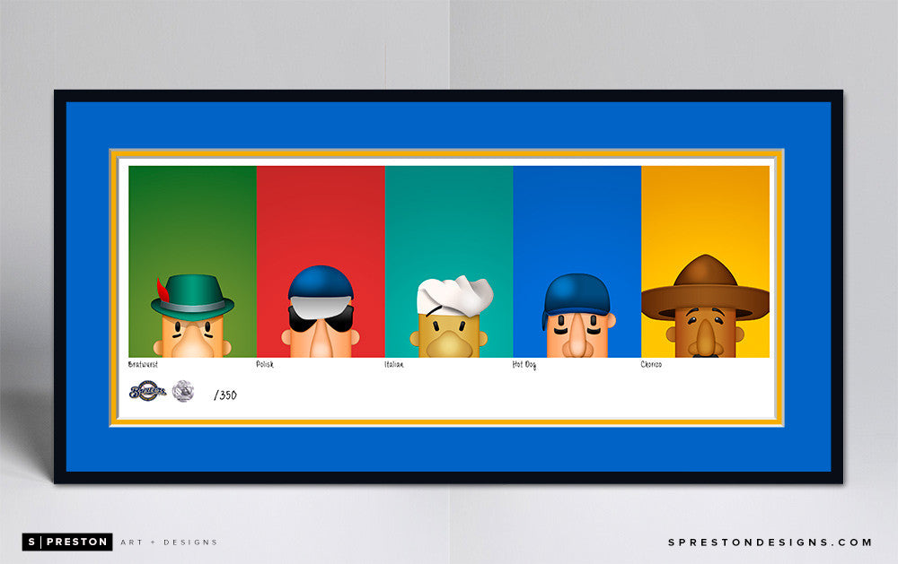 Minimalist Racing Sausage Art Print Set - Milwaukee Brewers - S. Preston