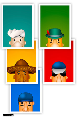 Minimalist Racing Sausage Postcard Set Milwaukee Brewers Mascot