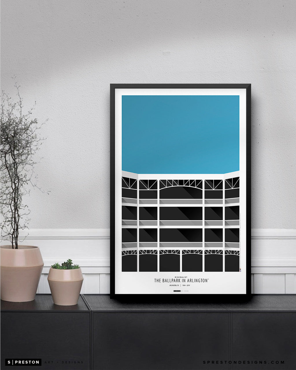 Minimalist The Ballpark In Arlington Poster Print Texas Rangers - S Preston