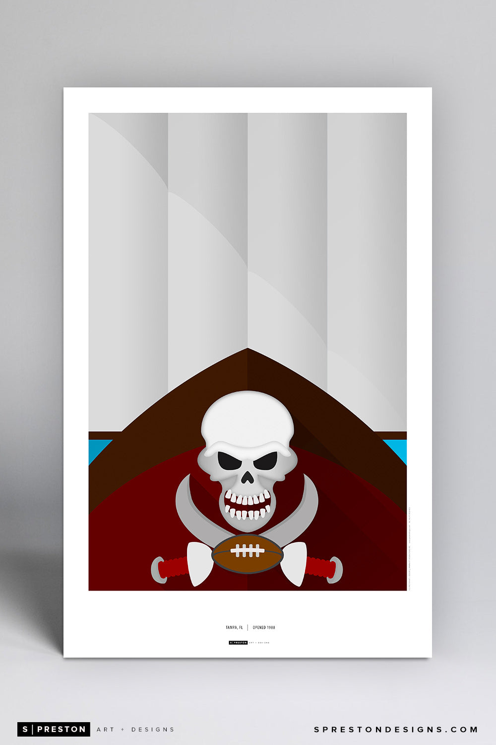 Minimalist Raymond James Stadium Art Poster Art Poster - Tampa Bay Buccaneers - S. Preston Art + Designs