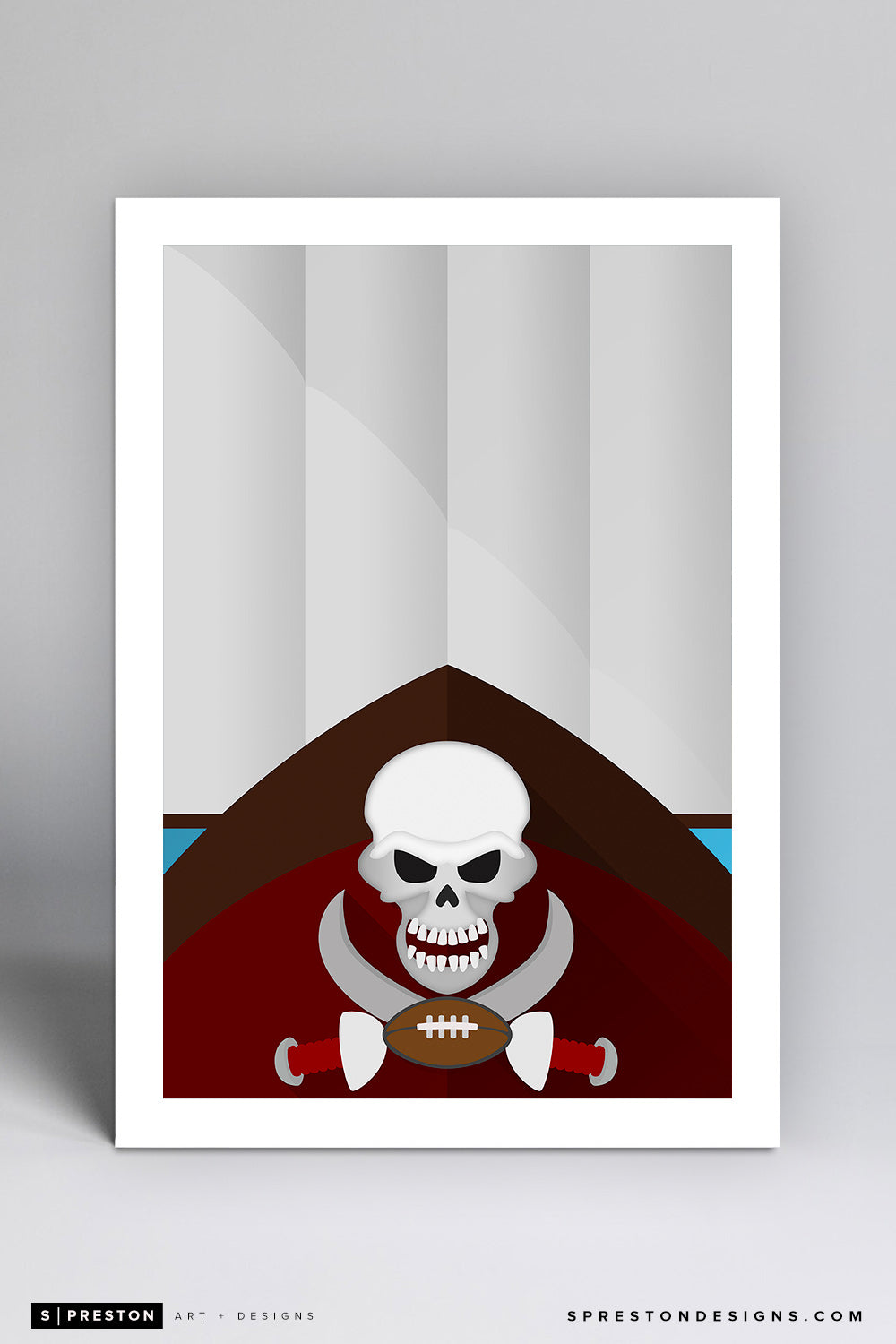Minimalist Raymond James Stadium Art Print - Tampa Bay Buccaneers - S. Preston Art + Designs