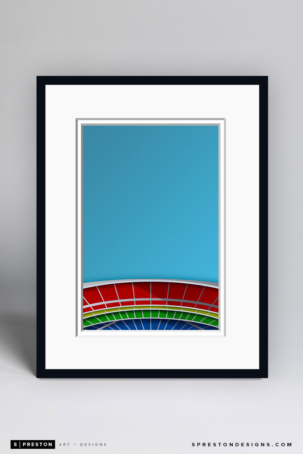 Minimalist Riverfront Stadium Art Print - Cincinnati Reds - S. Preston Art + Designs