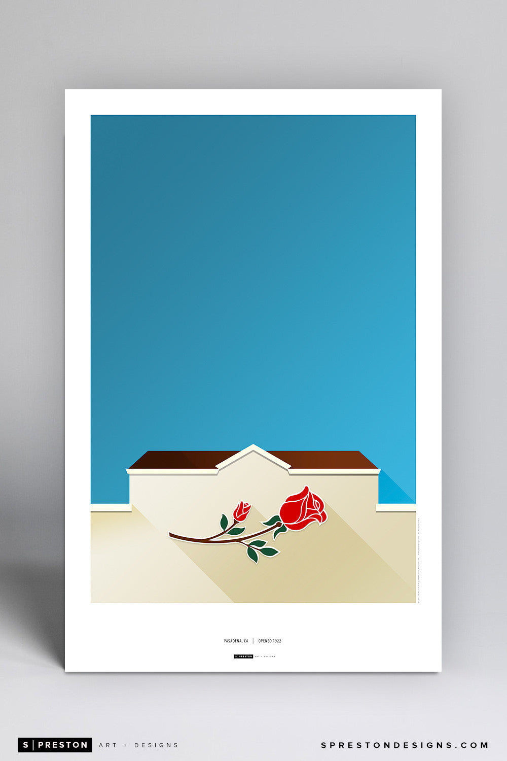 Minimalist Rose Bowl Art Poster Art Poster - UCLA - S. Preston Art + Designs