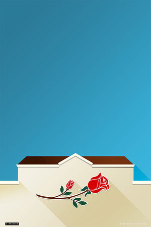 Minimalist Rose Bowl Art Print - UCLA - S. Preston Art + Designs