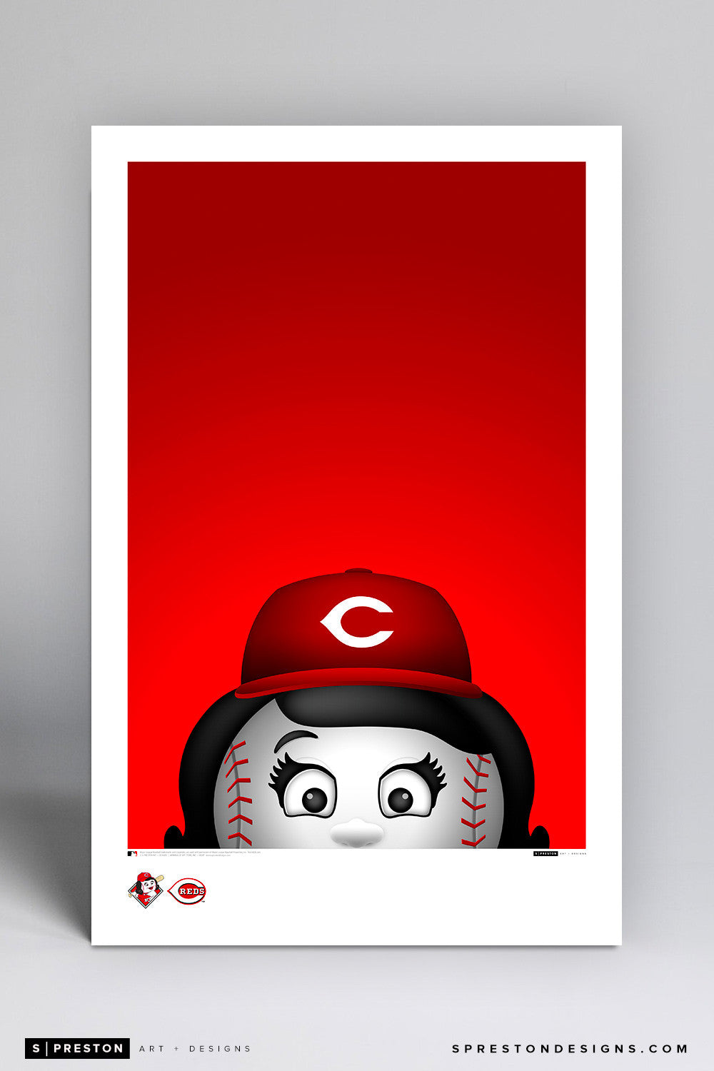 Minimalist Rosie The Red Art Poster Art Poster - Cincinnati Reds - S. Preston Art + Designs