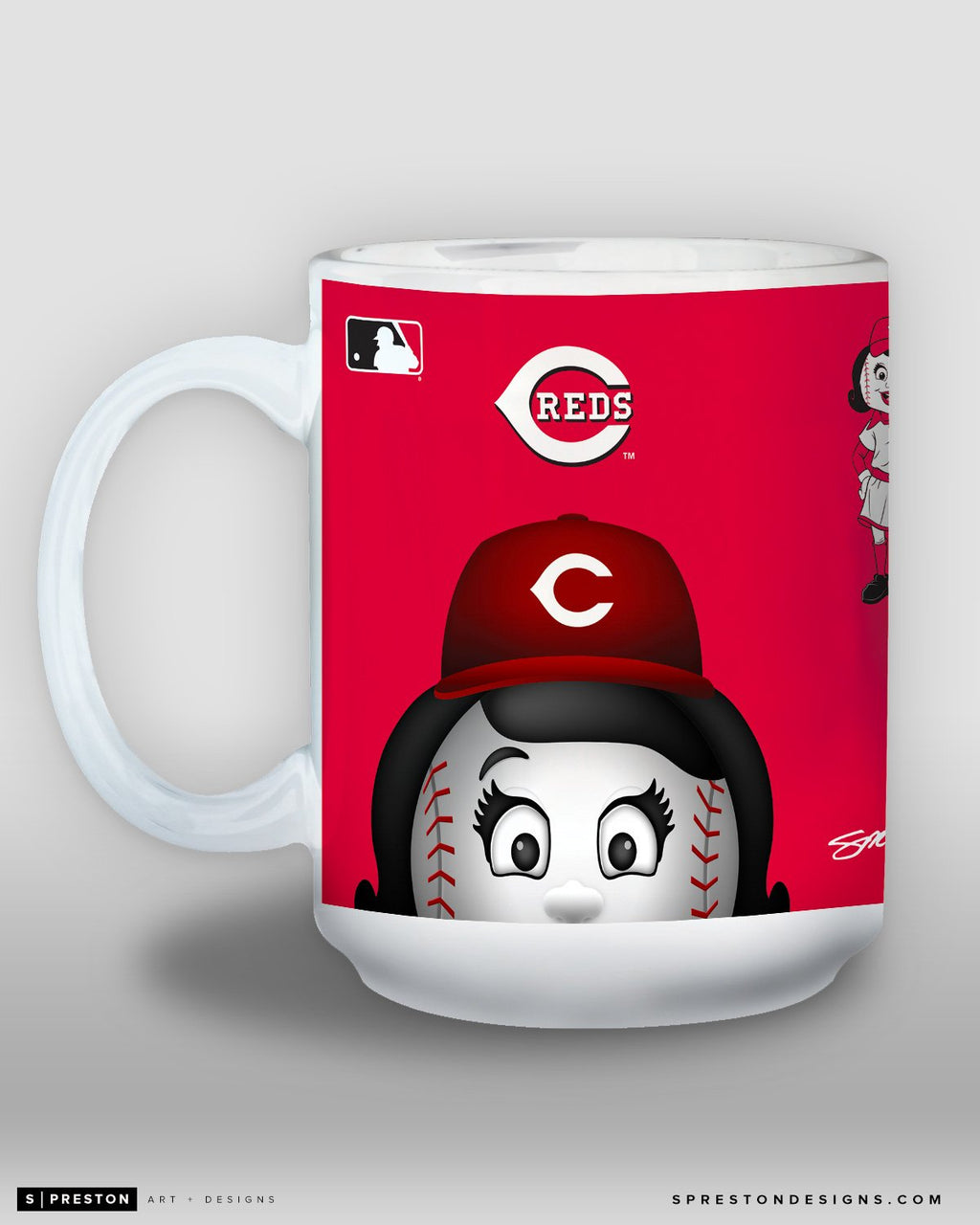 Minimalist Rosie The Red Coffee Mug - MLB Licensed - Cincinnati Reds Mascot