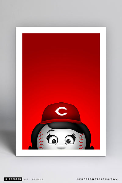 Minimalist Rosie The Red Art Print - Cincinnati Reds - S. Preston Art + Designs