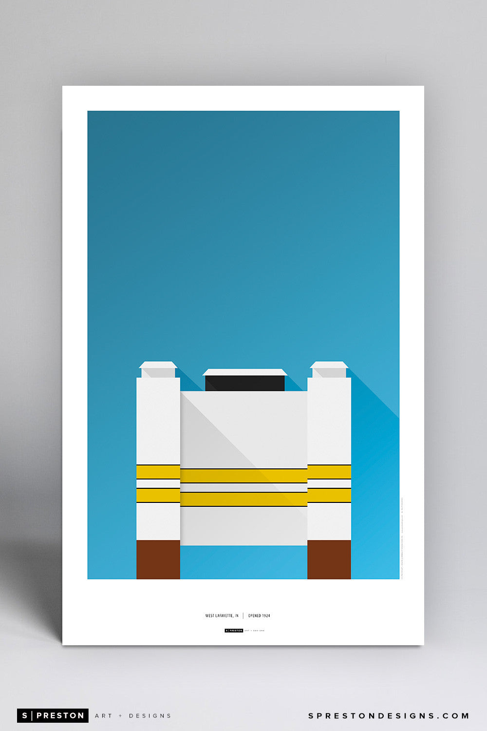 Minimalist Ross-Ade Stadium Poster Print - Purdue University - S. Preston Art + Designs