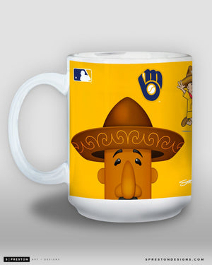 Minimalist Racing Sausage Chorizo Coffee Mug - MLB Licensed - Milwaukee Brewers Mascot