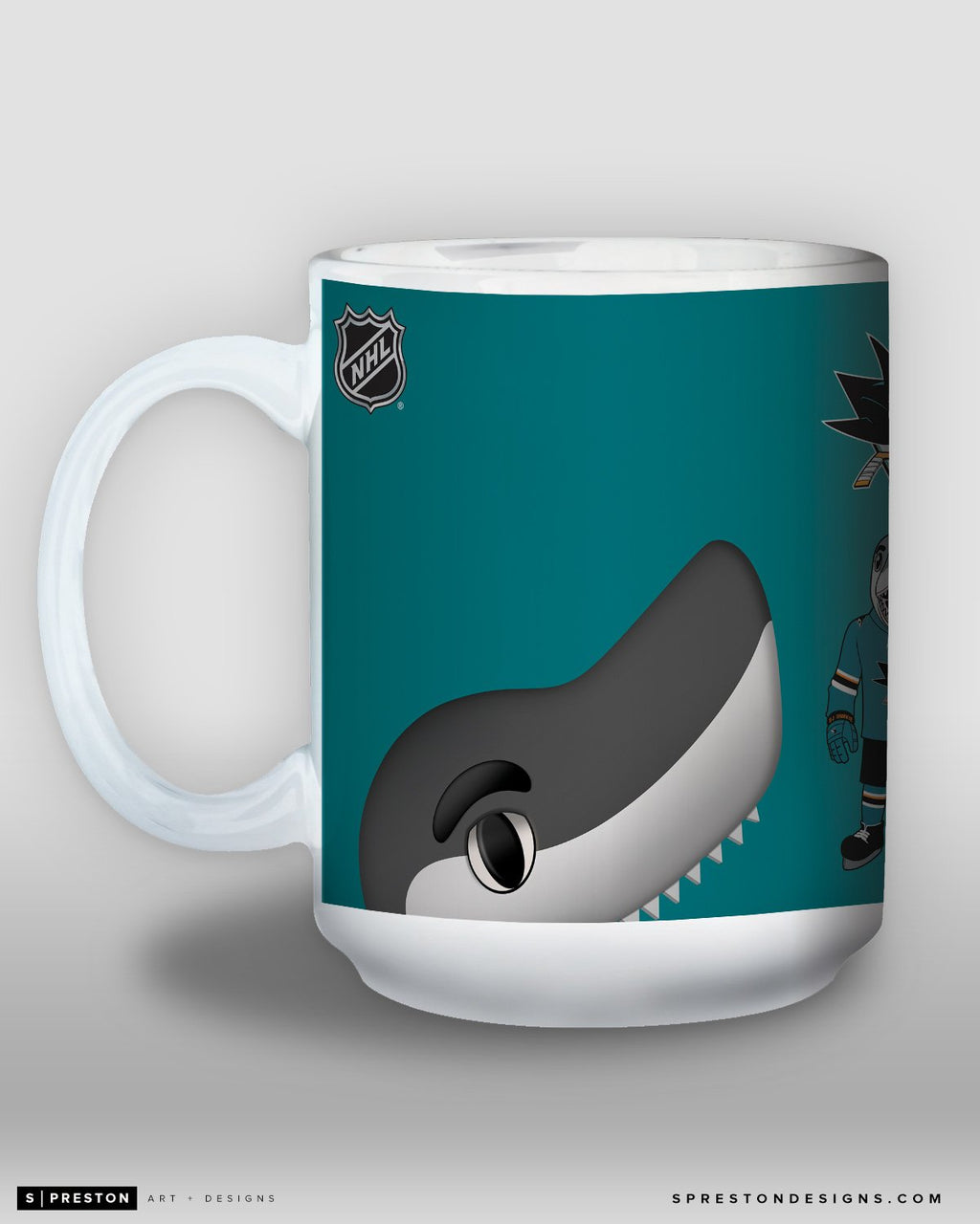 Minimalist S.J. Sharkie Coffee Mug - NHL Licensed - San Jose Sharks Mascot