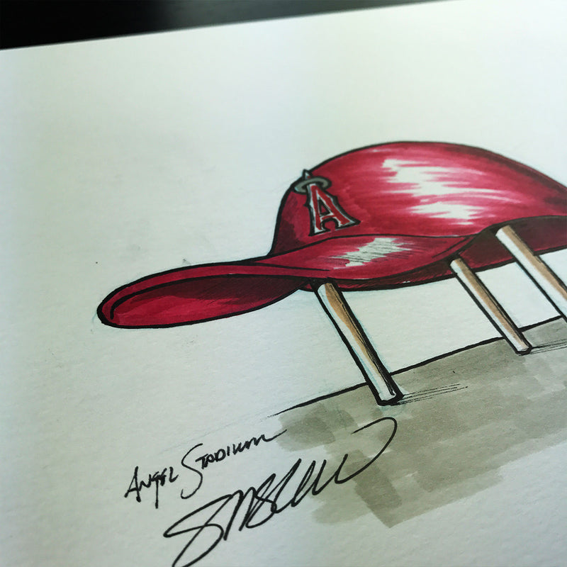Angel Stadium - Ink Sketch Collection - Los Angeles Angels Limited Edition - Los Angeles Angels - S. Preston Art + Designs