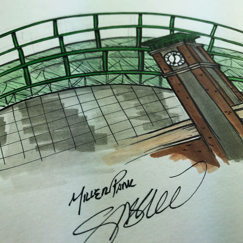 Miller Park Ink Sketch - Milwaukee Brewers - by S. Preston