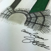 Oakland Coliseum Ink Sketch - Oakland Athletics - by S. Preston