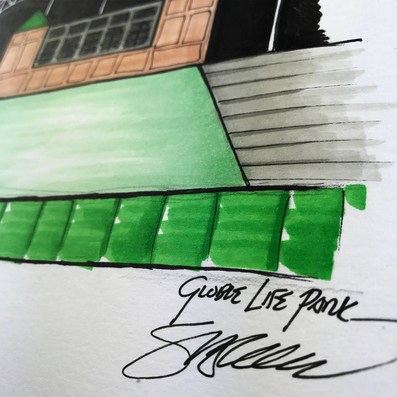 Globe Life Park - Ink Sketch Collection - Texas Rangers Limited Edition - Texas Rangers - S. Preston Art + Designs