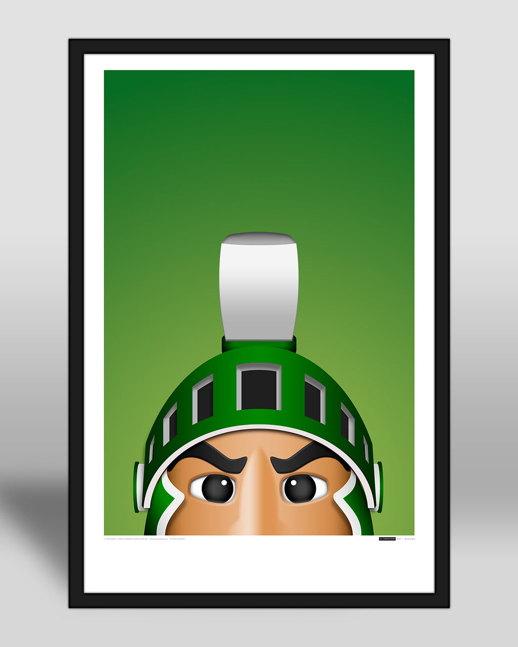 Minimalist Sparty Poster Print Michigan State Spartans - S Preston