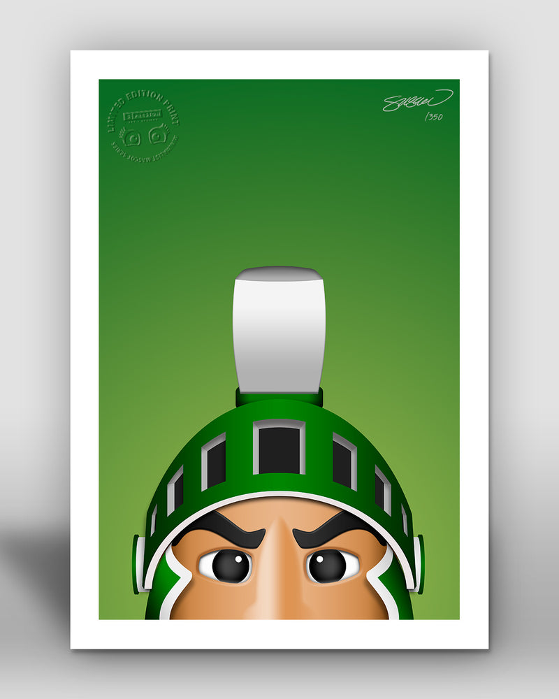 Minimalist Sparty - Michigan State Spartans - Michigan State Spartans - S. Preston