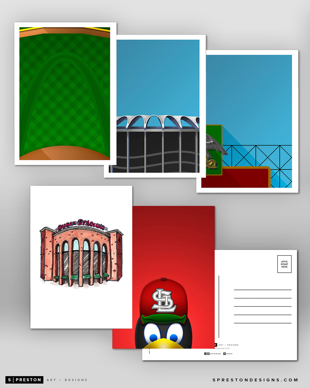 Minimalist St. Louis Cardinals Postcard Set