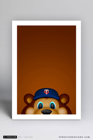 Minimalist T.C. Bear Art Print - Minnesota Twins - S. Preston Art + Designs