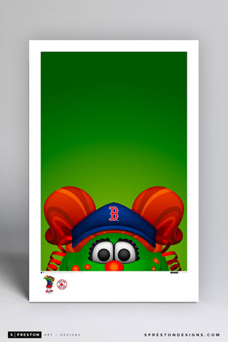 Minimalist Tessie The Green Monster Art Poster