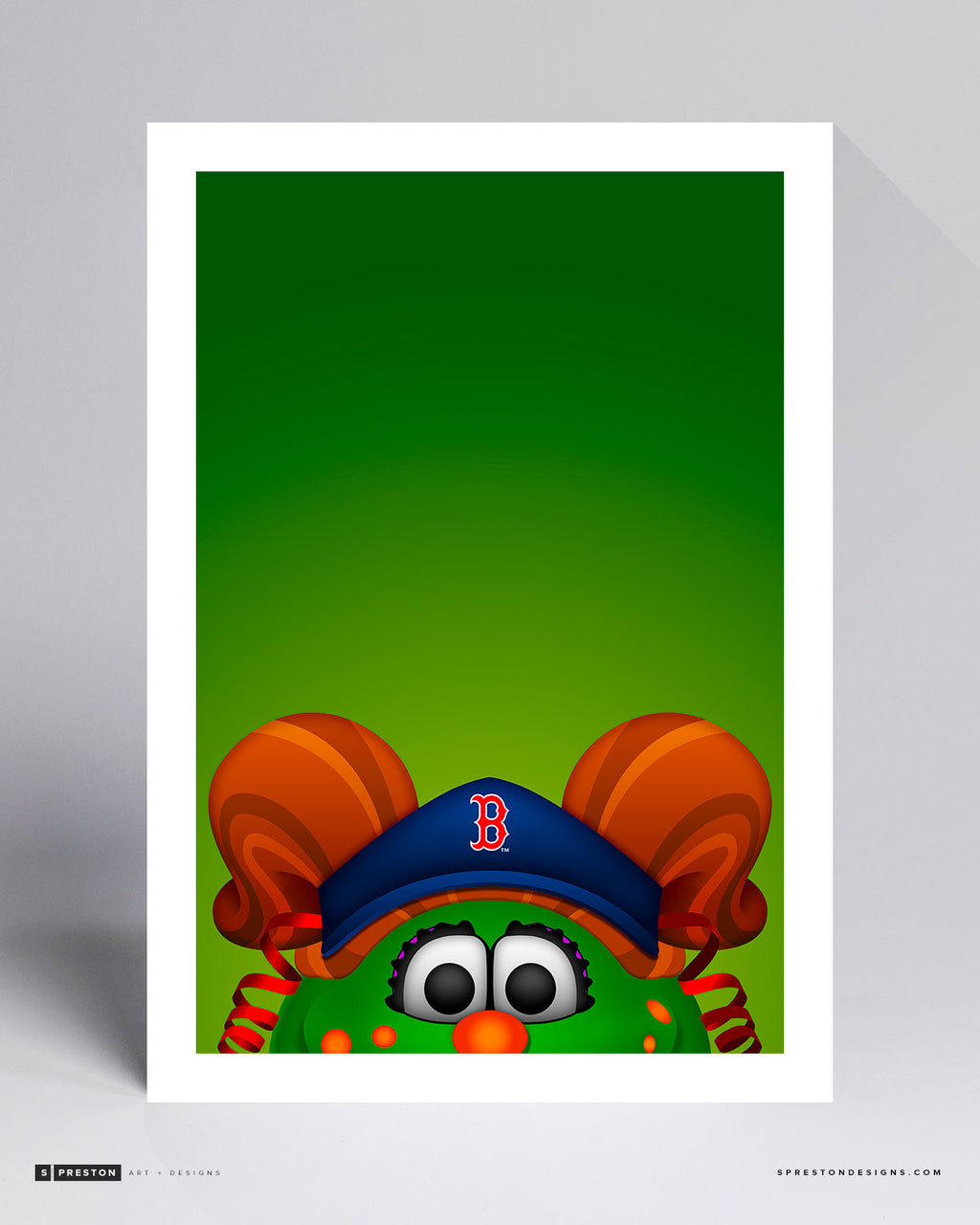 Minimalist Tessie the Green Monster Art Print - Boston Red Sox - S. Preston Art + Designs