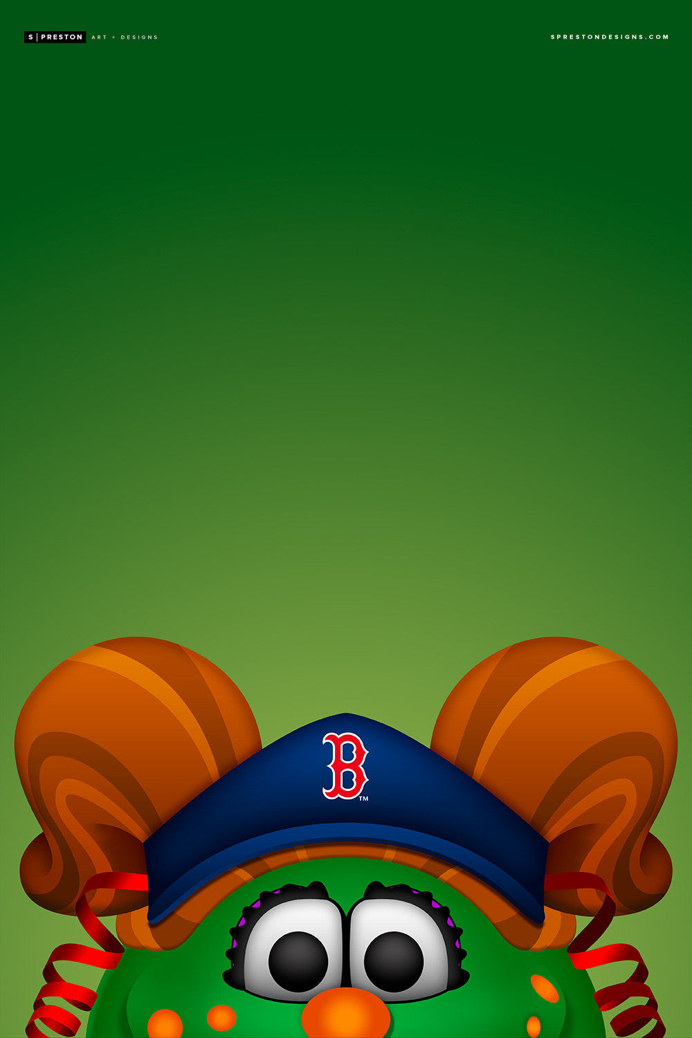 Minimalist Tessie The Green Monster Canvas Canvas - Boston Red Sox - S. Preston Art + Designs
