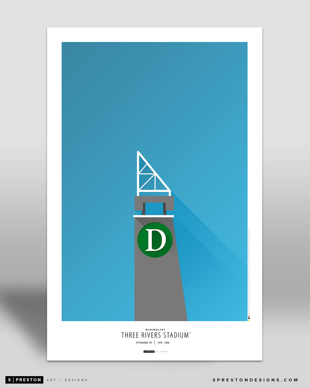 Minimalist Three Rivers Stadium Poster Print Pittsburgh Pirates - S Preston