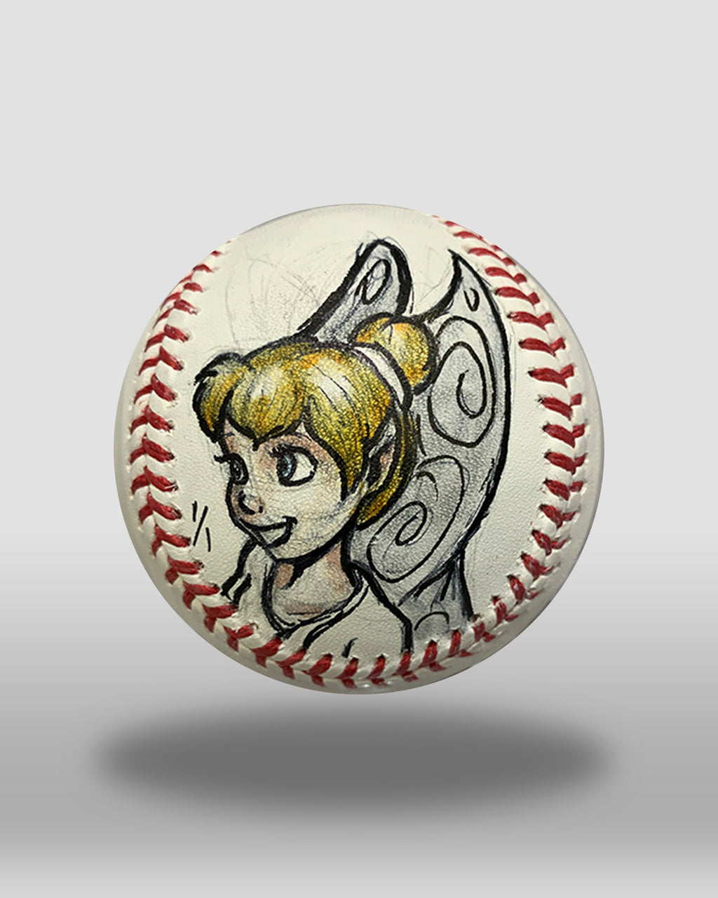 Princess Tinkerbell Hand-Drawn Baseball Art