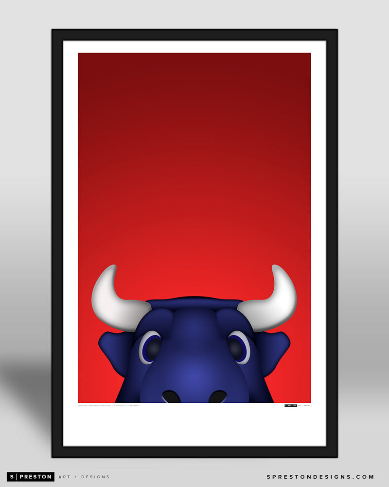 Minimalist Toro Art Poster Houston Texans Mascot - S. Preston