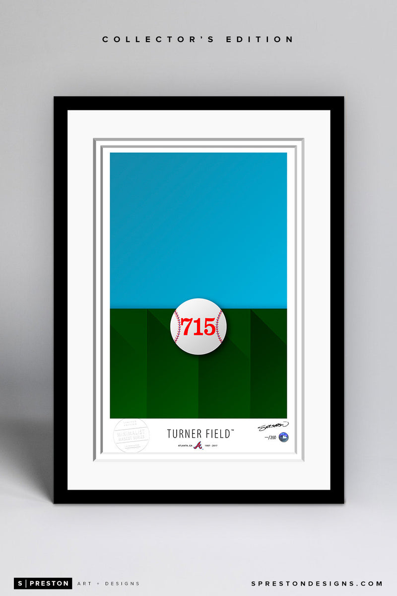 Minimalist Turner Field Art Print - Atlanta Braves - S. Preston Art + Designs