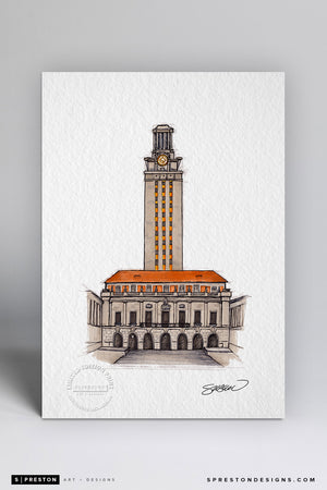 University of Texas Tower Sketch Illustration