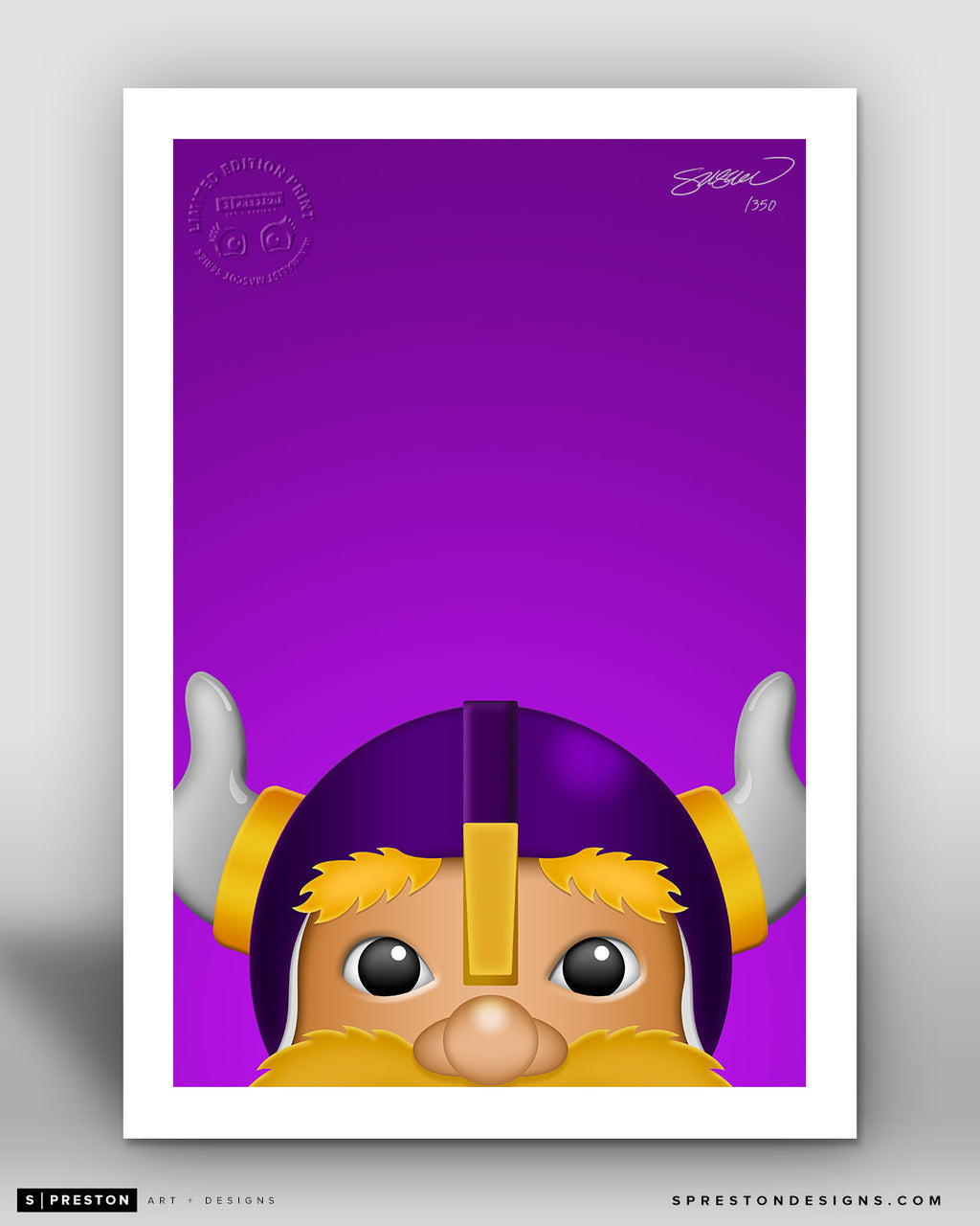 Minimalist Viktor The Viking Minnesota Vikings Mascot - S. Preston