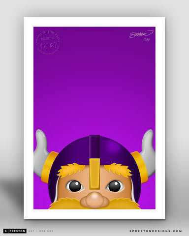 Minimalist Viktor The Viking - Minnesota Vikings Art Print - Minnesota Vikings - S. Preston Art + Designs