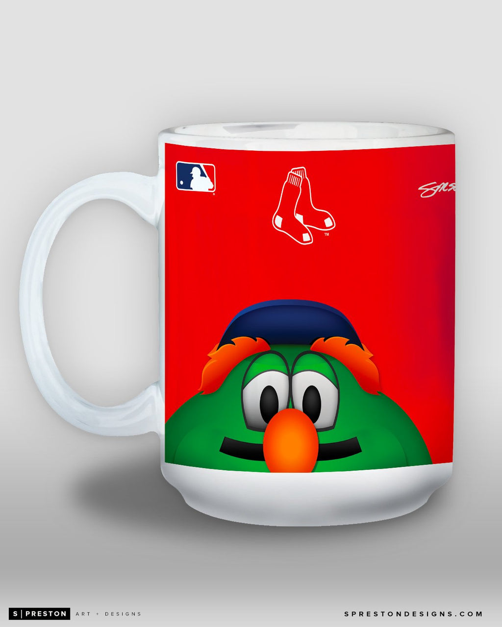 Minimalist Wally The Green Monster Coffee Mug - MLB Licensed - Boston Red Sox Mascot