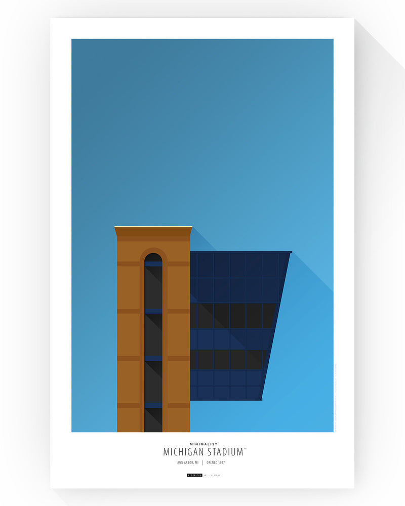Minimalist Michigan Stadium Poster Print (Pressbox) Poster Print - University of Michigan - S. Preston Art + Designs