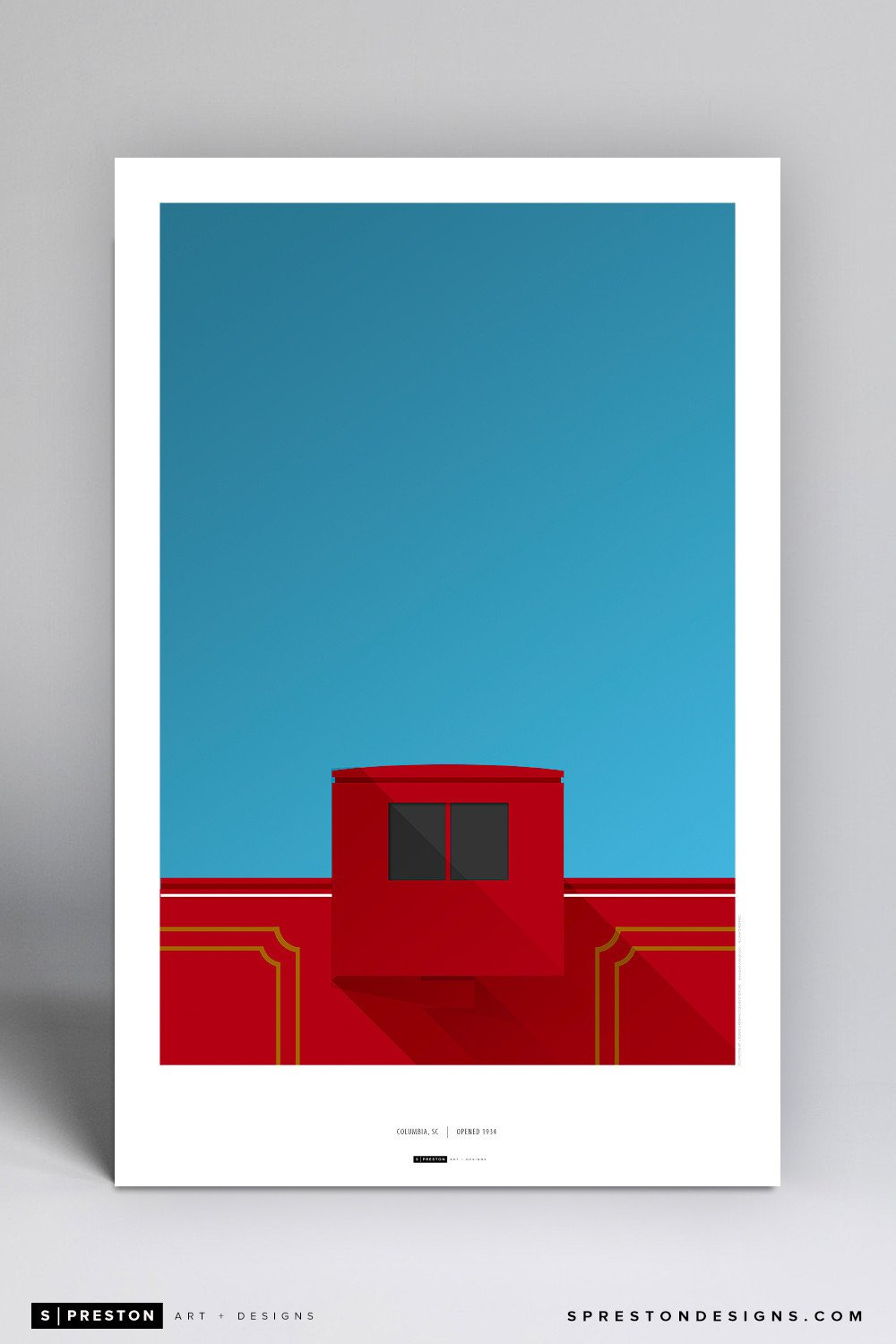 Minimalist Williams-Brice Stadium Poster Print - University of South Carolina - S. Preston Art + Designs