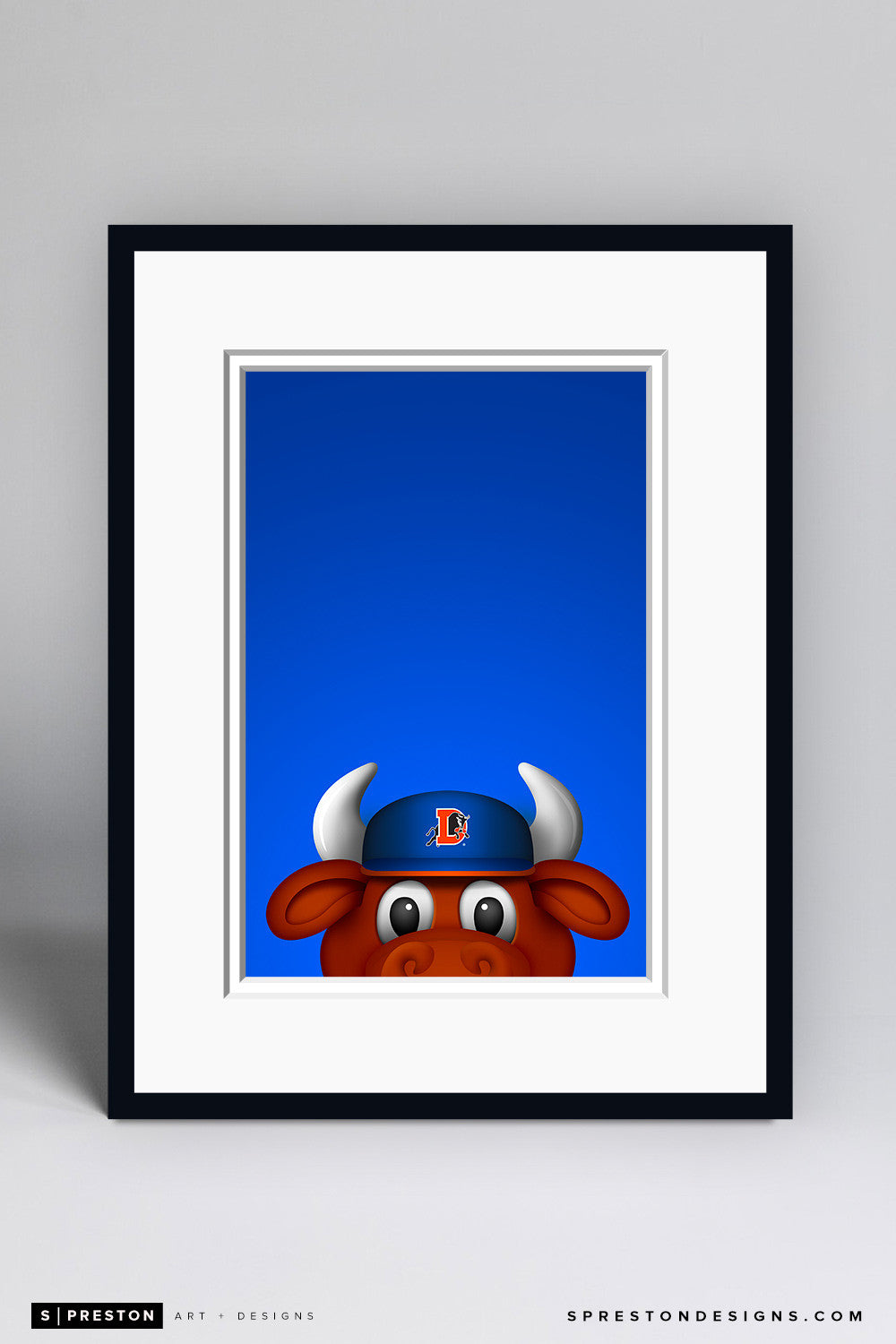 Minimalist Wool E. Bull Art Print - Durham Bulls - S. Preston Art + Designs