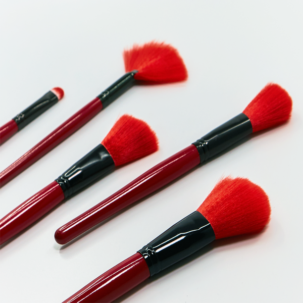 24 Piece Royal Red Make Up Brush Set