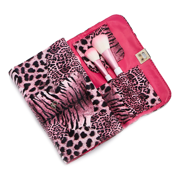 24 Piece Pink Leopard Makeup Brush Set