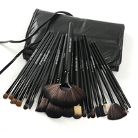 24 Piece Jet Black Make Up Brush Set