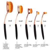 5 Piece Rose Gold Oval Brush Set ,  - My Make-Up Brush Set, My Make-Up Brush Set  - 2