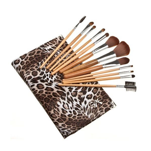 Leopard Skin Brush Set In Flat Case (12 Piece)