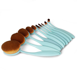 10 Piece Baby Blue Oval Brush Set ,  - My Make-Up Brush Set - US, My Make-Up Brush Set  - 1