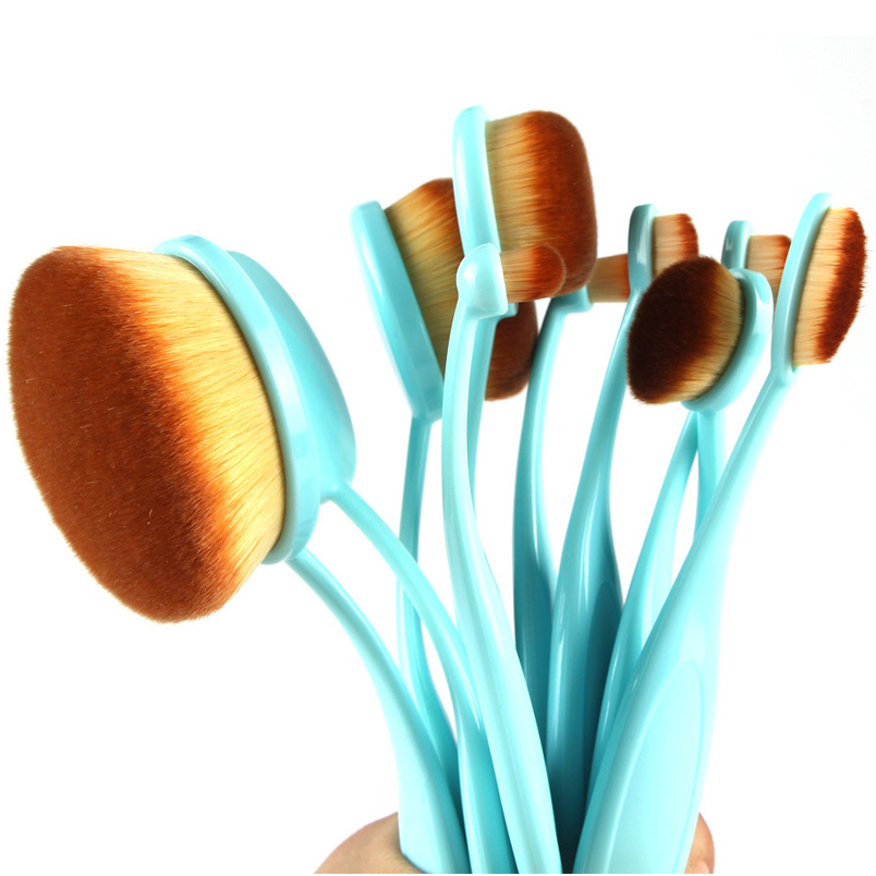 10 Piece Baby Blue Oval Brush Set ,  - My Make-Up Brush Set - US, My Make-Up Brush Set  - 5