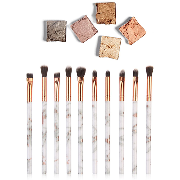 10 Piece Marble Eyeshadow Brush Set