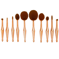 10 Piece Metallic Gold Oval Brush Set ,  - My Make-Up Brush Set, My Make-Up Brush Set  - 1