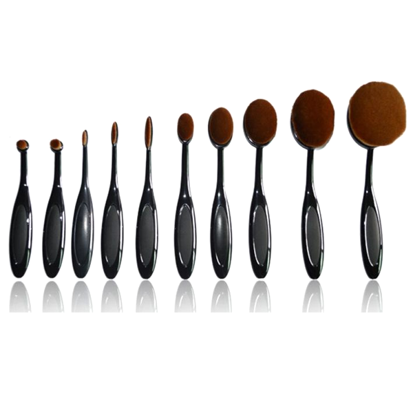 Vegan 10 Piece Oval Brush Set ,  - My Make-Up Brush Set, My Make-Up Brush Set  - 1