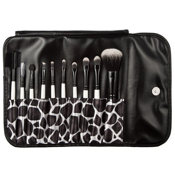 10 Piece Beauty Eyeshadow Brush Kit Set Wood Makeup Brushes Set With Printed Pouch Bag