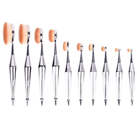 Metallic Silver Oval Brush Set (10 Piece)
